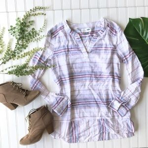 Old navy striped tunic lightweight white blue red